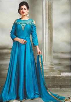 Aqua Blue Color Party Wear Designer Gown