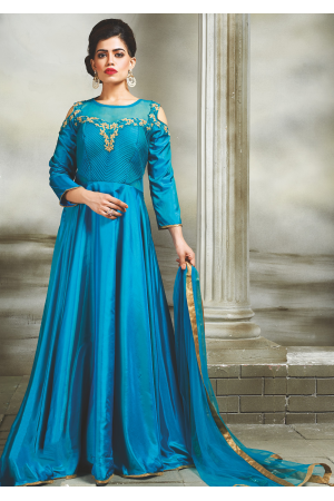 Cerulean Color Party Wear Designer Gown