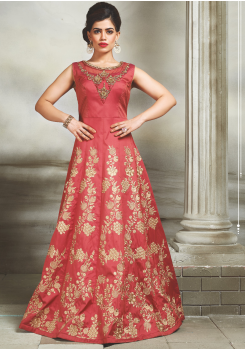 Red with golden printed Color Party Wear  Designer Gown
