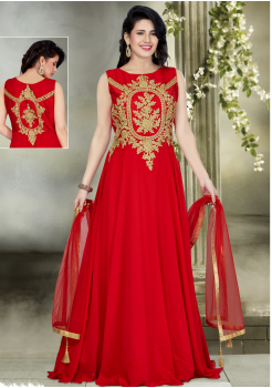 Red with Golden Color Party Wear Designer Gown