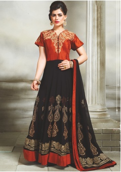 Black With Red Color Party Wear Designer Gown