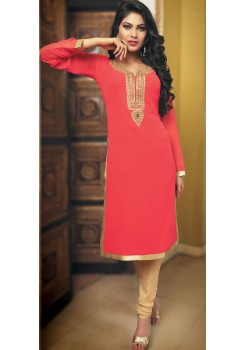 Coral Orange and Gold Kurti