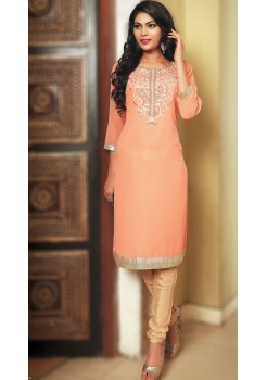 PEACH AND GOLD KURTI