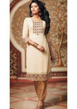 CREAM AND BROWN KURTI