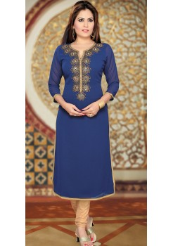 NAVY BLUE AND GOLDEN KURTI
