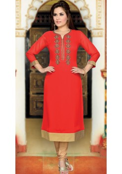 RED WITH GOLDEN COLOR KURTI