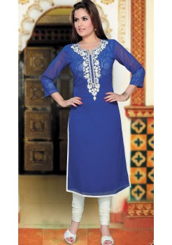 NAVY BLUE AND WHITE KURTI
