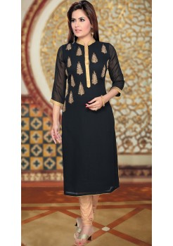 BLACK AND GOLD KURTI