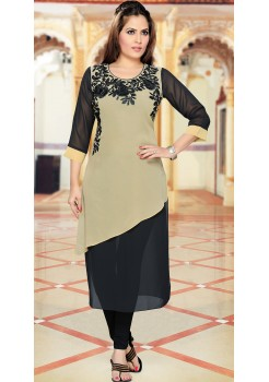 BLACK WITH CREAM MIX KURTI