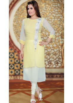 WHITE AND LEMON YELLOW KURTI