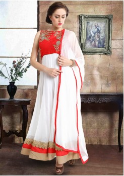 HALF RED HALF WHITE COLOR ART SILK GOWN