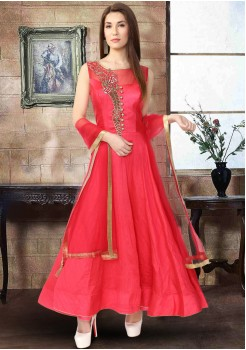 RED COLOR RAW SILK FABRIC GOWN