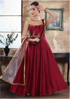 DARK RED COLOR ART SILK FABRIC GOWN