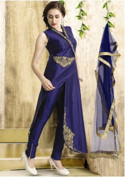 NAVY BLUE ART SILK CHUDIDAR