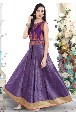 PURPLE COLOR ART SILK INDIAN STYLE GOWN