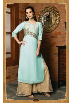 LIGHT BLUE COLOR DESIGNER SILK KURTI