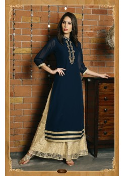 BLUE COLOR WITH RICH WORK GEORGETTE DESIGNER KURTI