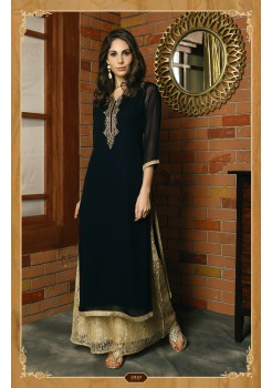 NAVY BLUE COLOR GEORGETTE AND BUTTER CREPE DESIGNER KURTI