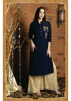 BLUE COLOR GEORGETTE AND BUTTER CRAPE FABRIC DESIGNER KURTI