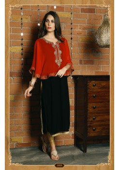 BLACK AND RED COLOR  DESIGNER KURTI