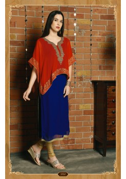 BLUE AND RED COLOR DESIGNER KURTI