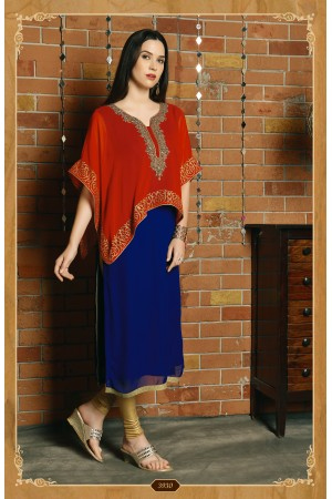BLUE AND PINKISH RED COLOR DESIGNER KURTI