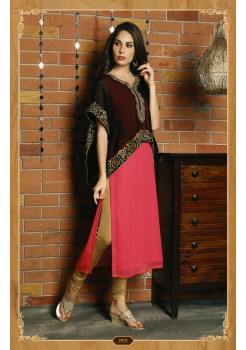 BLACK AND PEACH ORANGE COLOR DESIGNER KURTI