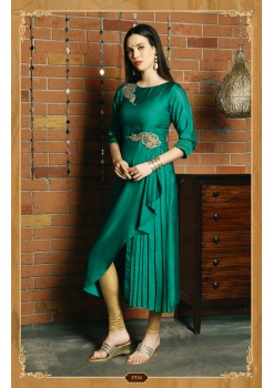 GREEN COLOR WITH RICH WORK DESIGNER KURTI