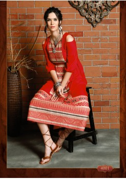RED COLOR COTTON DESIGNER KURTI