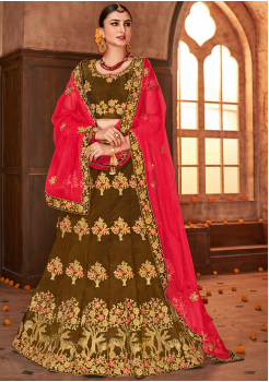 Clay Orange with Pink Color Designer Sanas Silk Lehenga