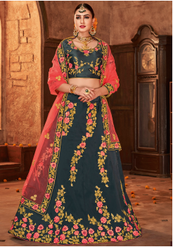 Denim Blue with Pink Color Designer Sanas Silk Lehenga