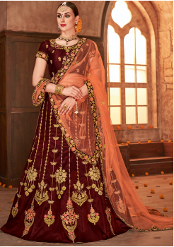 Brown Color Designer Sanas Silk Lehenga