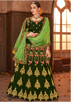 Deep Green Color Designer Sanas Silk Lehenga