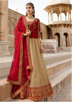 Red with Champagne Color Designer Velvet Lehenga