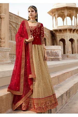Red with Champagne Color Designer Velvet Lehenga