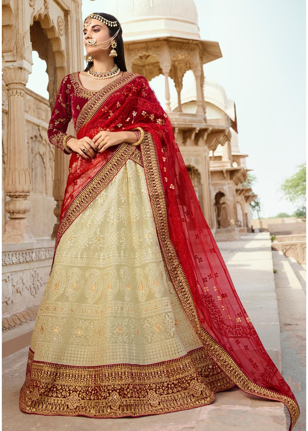 Red With Off White Color Designer Velvet Lehenga