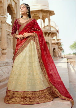 Red with Off-white Color Designer Velvet Lehenga