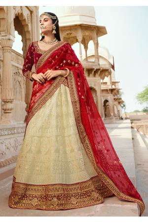 Red with Off-white Color Designer Velvet Lehenga