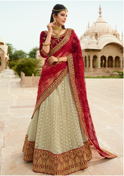 Red with Beige Color Designer Velvet Lehenga