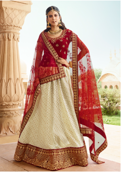 Garnet Red with White Color Designer Velvet Lehenga