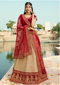 Garnet Red with Champagne Color Designer Velvet Lehenga
