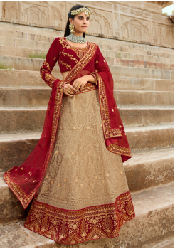 Red with Wheat Color Designer Velvet Lehenga