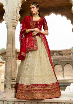Red with Light Cream Color Designer Velvet Lehenga