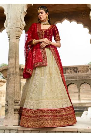 Red with Light Cream Color Designer Velvet Lehenga