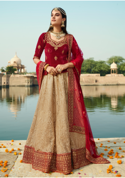 Red with Bisque Color Designer Velvet Lehenga