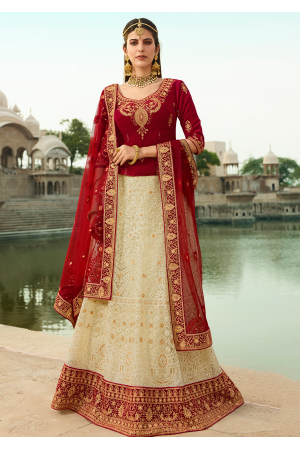 Scarlet Red with White Color Designer Velvet Lehenga
