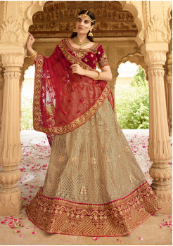 Scarlet Red with Tan Color Designer Velvet Lehenga