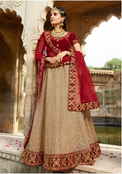 Garnet Red with Tan Color Designer Velvet Lehenga