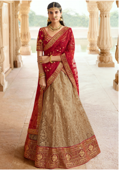Cherry Red with Tan Color Designer Velvet Lehenga