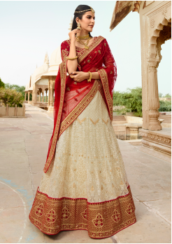 Cherry Red with White Color Designer Velvet Lehenga